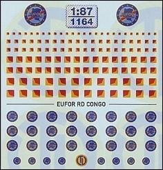 Heckwarntafeln und EUFOR RD CONGO Beschriftungen 1:87