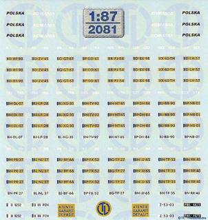 Kfz-Kennzeichen für V.D. Vlist Fahrzeuge 1:87