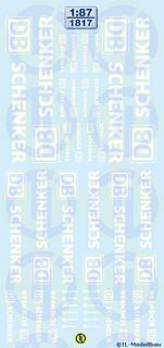 DB Schenker Schriftzüge, Weiß 1:87