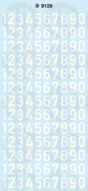 Zahlen 9 mm, weiss