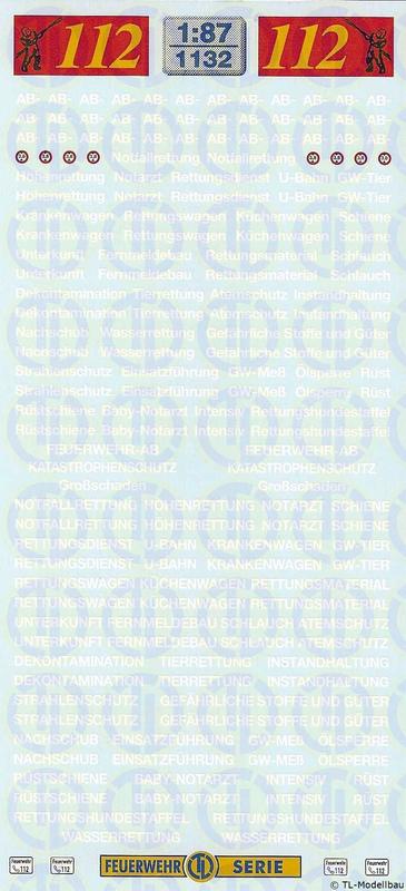 Feuerwehr-Abrollbehälter-Schriftzüge 1:87 1134