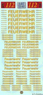 Feuerwehr-Schriftzüge - Goldgelb 1:87