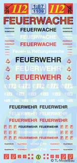 Feuerwehr/Feuerwache Decalbogen 1:87