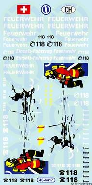 Feuerwehr Decalbogen - Schweiz 1:43