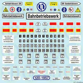 Bahnbetriebswerk Decalbogen 1:120
