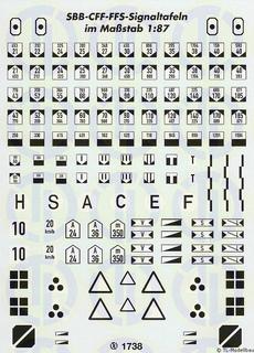 Signaltafeln Decalbogen - Schweiz 1:87