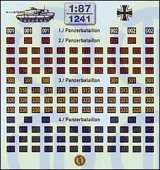 Turmnummern für Panzerbataillon - Aktuell 1:87