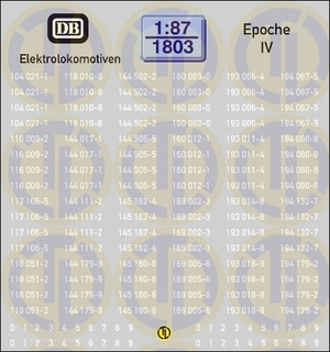 Loknummern für Elektrolokomotiven, Epoche IV 1:87
