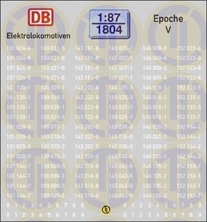 Loknummern für Elektrolokomotiven, Epoche V 1:87