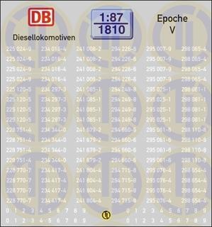 Loknummern für Diesellokomotiven, Epoche V 1:87