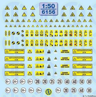 Warntafeln für Baumaschinen 1:50