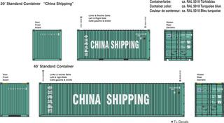 China Shipping Beschriftungen 1:87