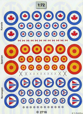 Hoheitsabzeichen »Kanada, Spanien, Norwegen« 1:72