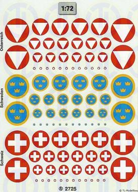 Hoheitsabzeichen »Österreich, Schweiz, Schweden« 1.72