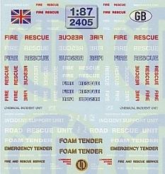 Feuerwehr Decalbogen »Grossbritannien« 1:87