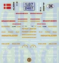 Feuerwehr Decalbogen »Dänemark« 1:87