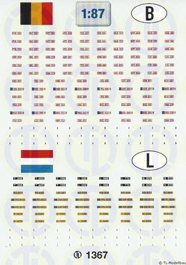 Kfz-Kennzeichen »Belgien · Luxemburg« 1:87