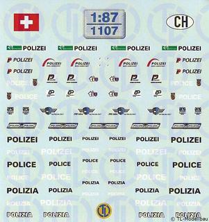 Polizei Decalbogen »Schweiz« 1:87