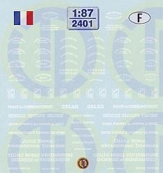 Feuerwehr Decalbogen »Frankreich« 1:87