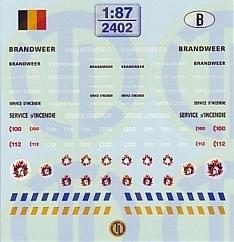 Feuerwehr Decalbogen »Belgien« 1:87