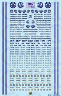 THW-Decalbogen - Blau 1:87