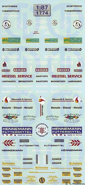 Dienstleistungen, Handel Decalbogen 1:87