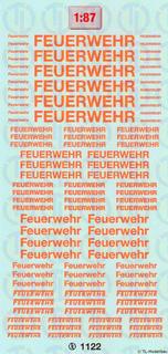 Feuerwehr-Schriftzüge - Leuchtrot 1:87
