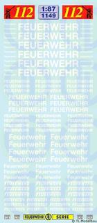 Feuerwehr-Schriftzüge - Weiss 1:87