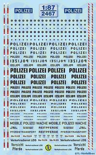 Polizei Schriftzüge in schwarz 1:87