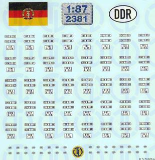 DDR Kfz-Kennzeichen ab 1976 - 1:87